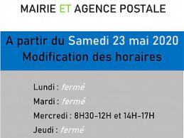 Réouverture de la mairie et de l'agence postale le samedi 23 mai